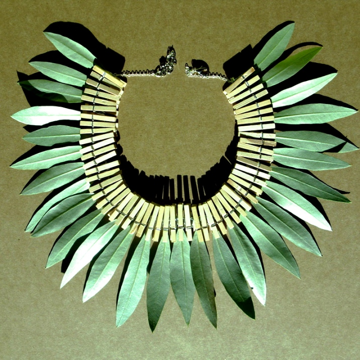Natural Leaves Necklace   Wood, metal and Olive leaves   Sold