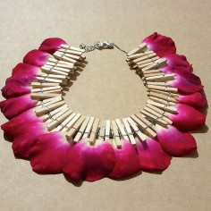 Natural Necklace   Wood, metal and Rose Petals - Sold