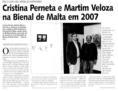 Cristina Perneta e Martim Veloza na Bienal de Malta em 2007 | Jornal da Madeira, 4 Novembro 2006