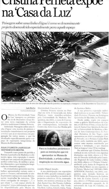 Cristina Perneta expõe na Casa da Luz | Diário de Notícias da Madeira,1 Dezembro 2006