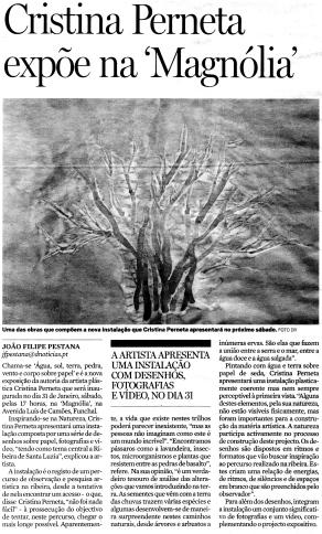 Cristina Perneta expõe na Magnólia | Diário de Notícias da Madeira, 24 Janeiro2009