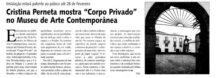 Cristina Perneta mostra Corpo Privado no Museu de Arte Contemporânea | Jornal da Madeira, 28 Janeiro 2005