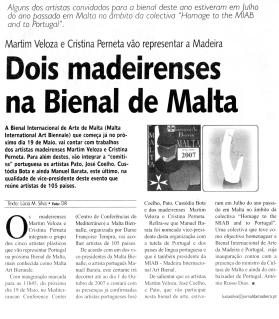 Dois madeirenses na Bienal de Malta | Jornal da Madeira, 10 Abril 2007
