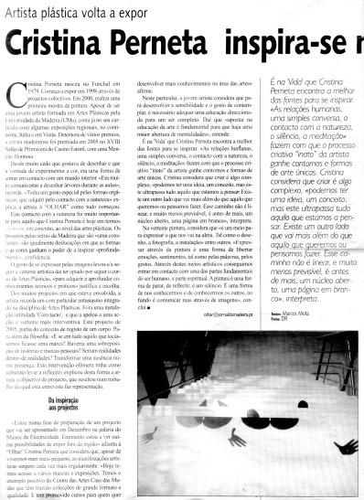 Cristina Perneta inspira-se na vida | Revista olhar, 6 Maio 2016