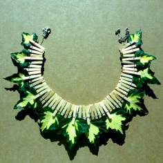 Natural Leaves Necklace   Wood, metal and Hera leaves   Sold